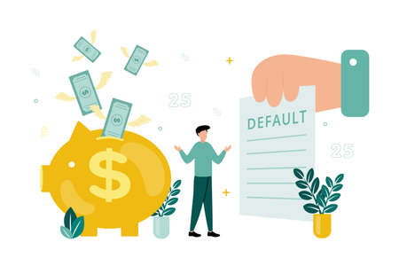 Finance. Vector illustration of default. The man spreads his arms, in front of him is a document with the inscription default, behind him is a piggy bank, with bills flying out of it