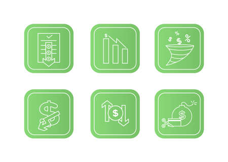 Finance icons set. Vector illustration of devaluation, default. The dollar icon on which the down arrow. Dollar icon in a round frame, on the sides of which there are up and down arrows.