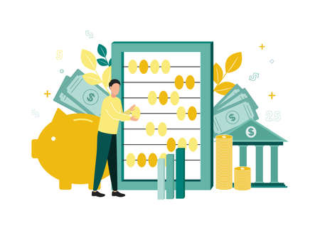 Finance. Vector illustration of accounting. A man counts on big accounts, next to him is a piggy bank, banknotes, bank, stack of coins, a bar chart, branches with leaves, dollar signs, numbers