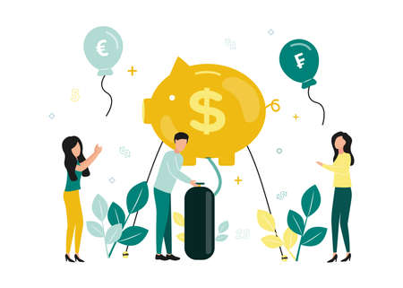 Finance. Vector illustration of inflation. A man inflates a piggy bank with a dollar sign, to the right and left of him, women catch flying balls with currency signs, numbers, plants Ilustração
