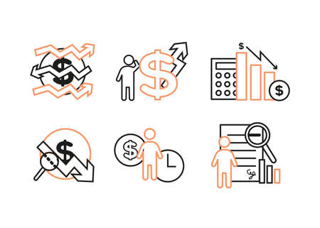 Finance icons set. Vector illustration of financial management, econometrics. A dollar sign, next to which is the silhouette of a man, followed by an up arrow.