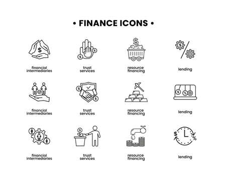 Finance icons set. Vector illustration of financial intermediary icons, resource financing, trust services, lending