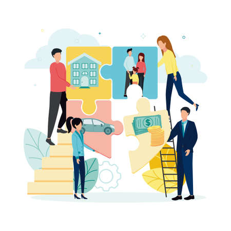 Finance. Vector illustration insurance. People fold the security icon from puzzles, on which the house, car, family, bills and coins, against the background of a plant, clouds, gear.