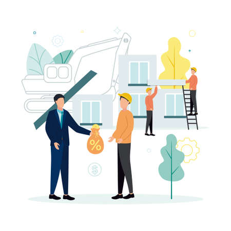 Finance. Vector illustration of lending. A man in a suit gives a money bag, on which the percent sign is to a man in a helmet, against the background of workers are building, an excavator, trees.