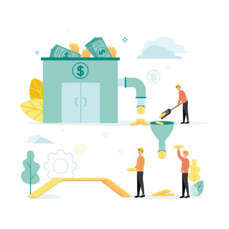 Finance. Vector illustration of lending. From the bank with banknotes, coins come through the pipeline, which the builders put with a shovel into the funnel from which the worker is taken and built.