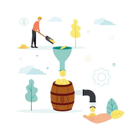 Finance. Vector illustration of financial intermediaries. A man puts coins with a shovel into a funnel, from which they go into a barrel, in which a tap, through which money pours into his palm.