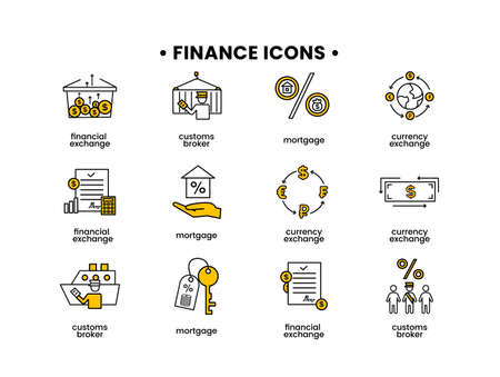 Finance icons set. Vector illustration of customs broker, mortgage, financial exchange, currency exchange icons.
