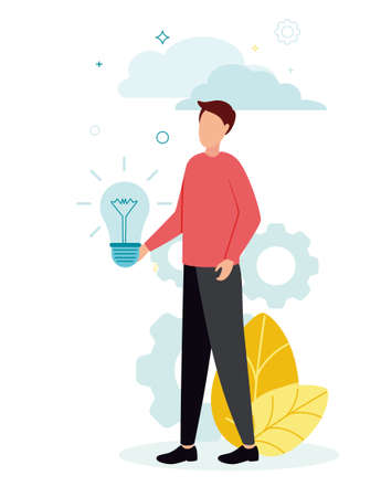 Vector illustration of a man with a light bulb in his hands, against a background of leaves, gears, clouds.