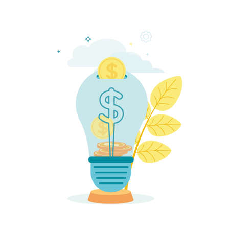 Vector illustration of a light bulb with dollar coins, on a plant, cloud background.