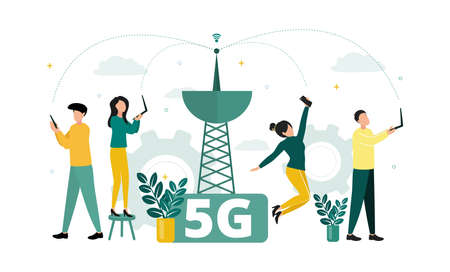 Vector illustration of 5G internet. Near the tower, women and men with laptops and smartphones are catching a network, against the background of gears, clouds, plants