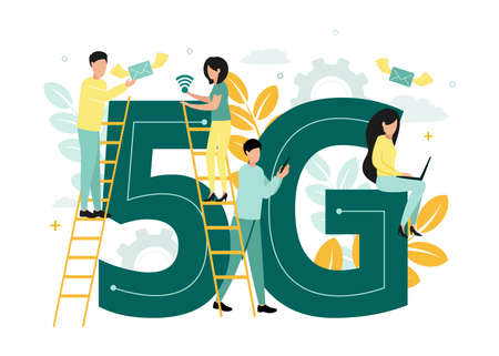 Vector illustration of 5G internet. Men and women stand on the stairs near the letter G and number 5, with an envelope, a network icon, a laptop and a smartphone in their hands