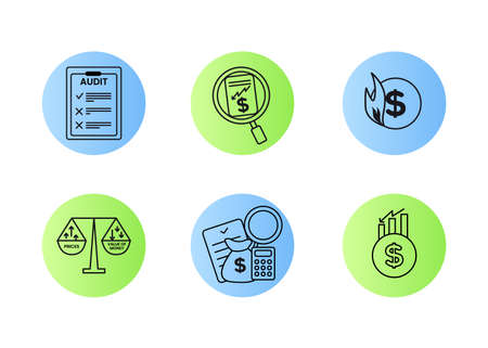 Finance. Vector illustration set of inflation icons, audit