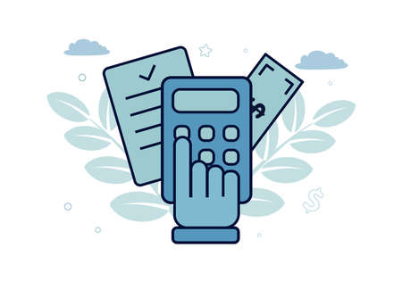 Finance. Vector illustration of accounting. Hand on a calculator, behind it a document and a bill, against the background of leaves, clouds, stars