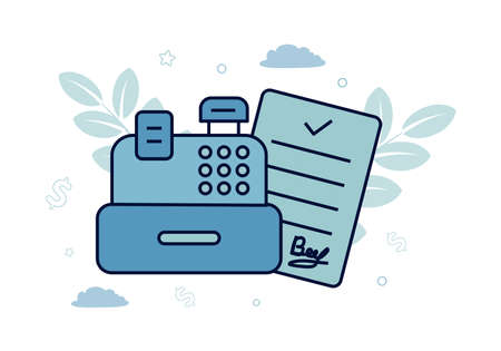 Finance. Vector illustration of settlement transactions. Cash register, next to it is a document, against the background of leaves, clouds, stars