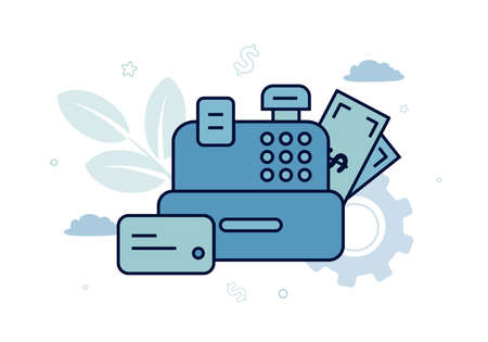 Finance. Vector illustration of settlement operations. Cash register, bills and a card near it, against the background of a gear, a plant, clouds