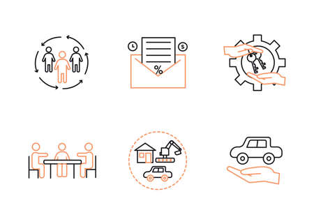 Vector finance illustration. Leasing, factoring icons set.