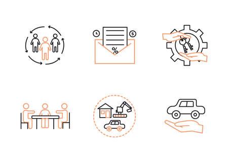 Vector finance illustration. Leasing, factoring icons set. Ilustração
