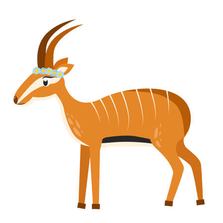 Illustration of an antelope with stripes. Antelope character.