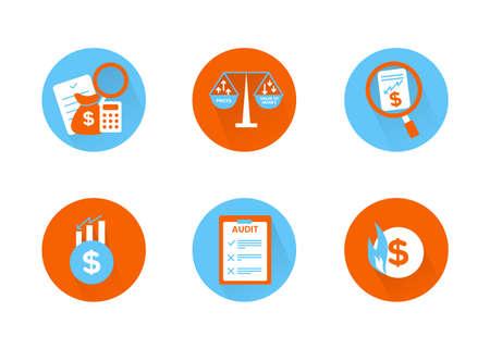 Finance. Vector illustration set of inflation icons, audit.