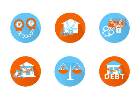 Finance. Vector illustration set of icons seizure of property, foreclosure.