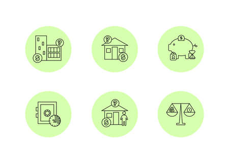 Finance. Vector illustration set of depository services icons, property valuation.