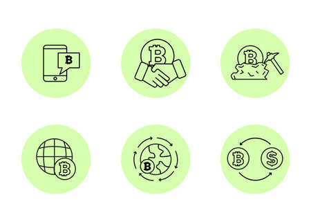 Finance. Vector illustration set of icons of cryptocurrency mining.