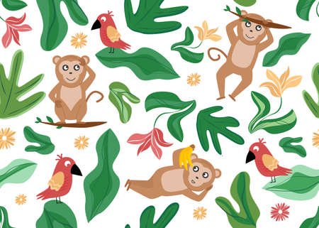 Vector illustration of seamless pattern with monkey, parrot, flower, plant leaves.