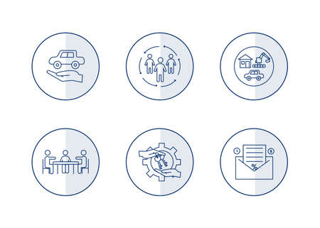Vector finance illustration. Leasing, factoring icons set