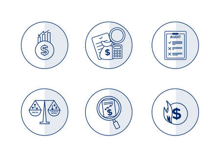 Finance. Vector illustration set of inflation icons, audit.