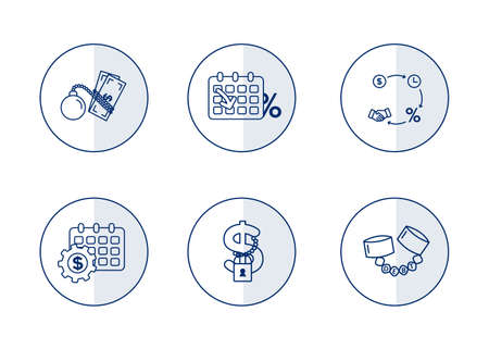 Finance. Vector illustration set of debt icons, debt restructuring.