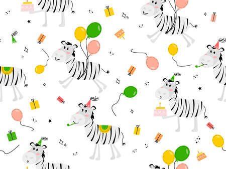 Seamless pattern with animal zebra. Vector illustration with a zebra in a festive cap, balloons, cake, gift. 向量圖像