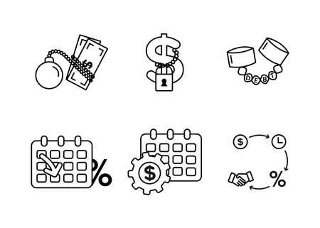 Finance. Vector illustration set of debt icons, debt restructuring.