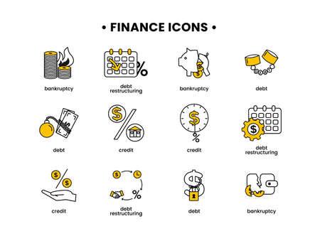 Finance. Vector illustration set of icons debt, debt restructuring, bankruptcy, credit