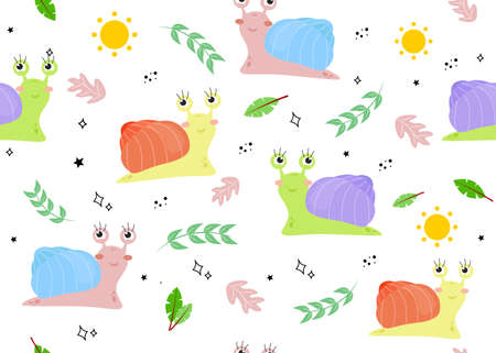 Seamless pattern with a snail. Vector illustration with snail, fern leaf, sun, star, doodle. 向量圖像