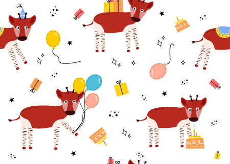Seamless pattern with okapi. Vector illustration with animal okapi, balloons, gift, cake, star, doodle.