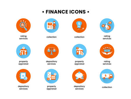 Finance. Vector illustration set of icons depository services, property appraisal, rating services, collection