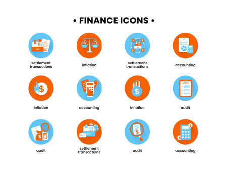 Finance. Vector illustration set of icons of settlement operations, accounting, inflation, audit. 向量圖像