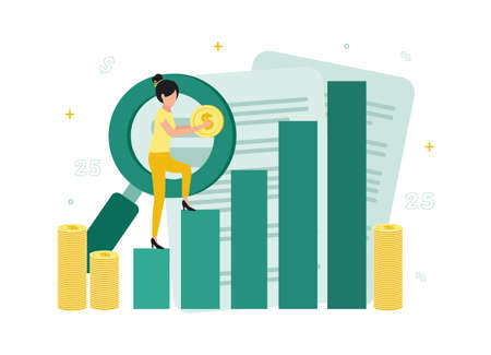 Finance. Financial exchange. A woman climbs the columns of a chart with a dollar in her hands, next to stacks of coins, a magnifying glass, documents. Vector illustration.