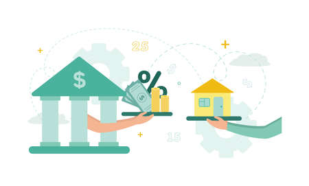 Finance. Mortgage. Hands from the bank hold a tray with bills, stacks of coins, interest, opposite the hand they hold a tray with a house. Vector illustration.