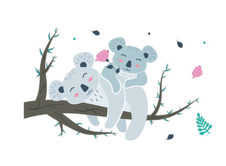 Koala mom lies on a eucalyptus branch with a baby on her back with a flower in her hands. Koala bear character with cub on eucalyptus tree. Vector illustration.