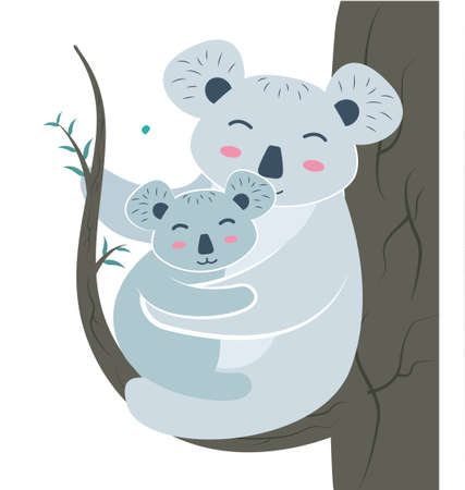 Koala mom on a eucalyptus branch with a baby in her paws. Koala bear character with cub on eucalyptus tree. Vector illustration. Иллюстрация