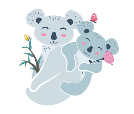 Koala mom on a eucalyptus branch with a baby on her back with a flower in her hands and butterflies. Koala bear character with cub on a eucalyptus branch. Vector illustration.