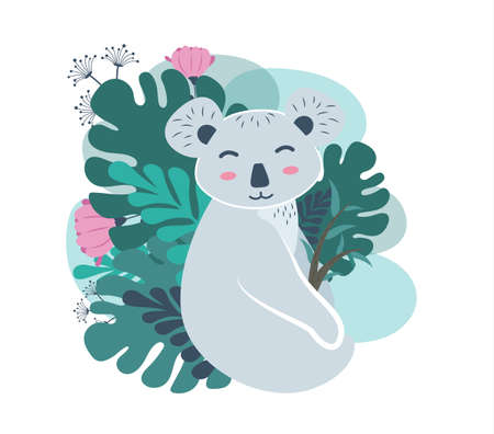 The animal koala sits near the plants and holds flowers in its paws. Koala bear character with flowers near the bush. Vector illustration.