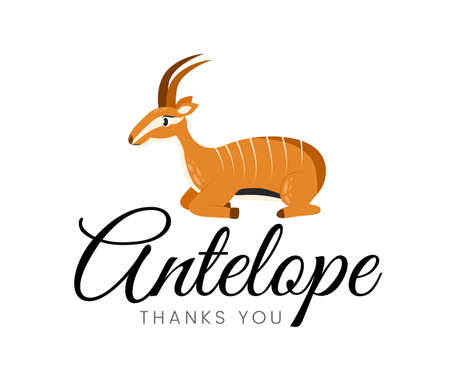 Vector illustration of a logo with an animal antelope and the inscription thank you. Emblem with antelope and the inscription antelope thank you. Иллюстрация