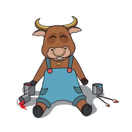The bull sits in overalls near the paint buckets and paint brushes. Bull character in clothes sits near paint and brushes. Vector illustration. 向量圖像