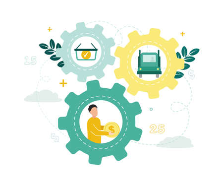 Finance. Factoring. Three gears, in them a man with a dollar, a basket with a coin, a truck, against a background of clouds, leaves, numbers. Vector illustration