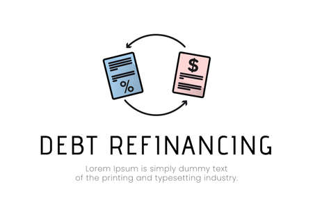 Finance. Debt refinancing. with documents between arrows, with percent and dollar icons, debt refinancing inscription. Vector illustration