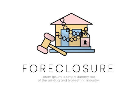 Finance. Foreclosure. House in chains with padlock and hammer next to it, with foreclosure lettering. Vector illustration.