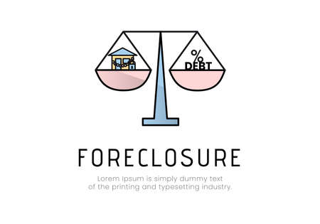 Finance. Foreclosure. Scales , in one bowl of which there are chains with a padlock, in the other the word debt and a percent sign, the inscription foreclosure. Vector illustration.