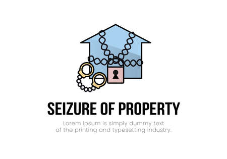 Finance. Arrest of property. House in chains with a padlock, handcuffs near it, the inscription seizure of property. Vector illustration.